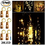 Wine Bottle Lights with Cork - SurLight Cork Lights for Bottle 6 Pack 6.5ft 20 LED Bottle Lights Battery Powered Starry String Lights for DIY Party Christmas Halloween Wedding(Warm White Silver Wire)