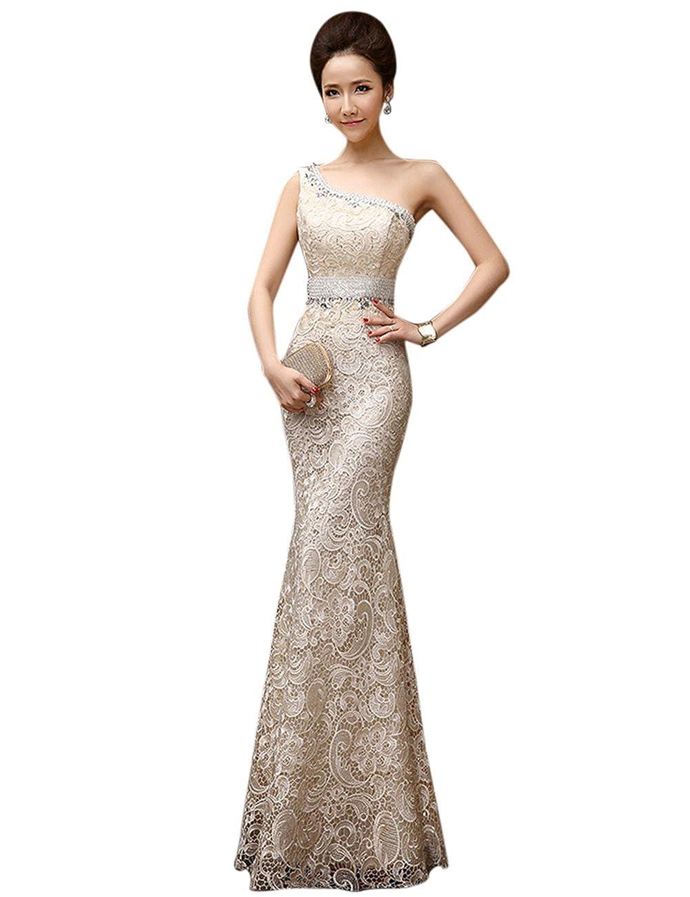 Champagne BessWedding Sexy Mermaid One Shoulder Lace Prom Dress Wedding with Rhine Stone