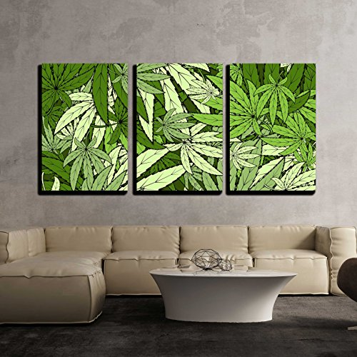 wall26 - 3 Piece Canvas Wall Art - Vector - Marijuana Background Eps 10 Vector Stock Illustration - Modern Home Decor Stretched and Framed Ready to Hang - 24