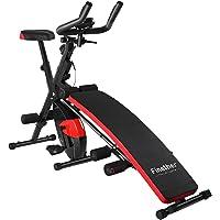 Finether Bicicleta Estática Plegable Magnética Ejercicio Bicicleta de Spinning Ajustable Bicicleta Gimnasio con Monitor LCD y Sensor, Color Rojo y Negro