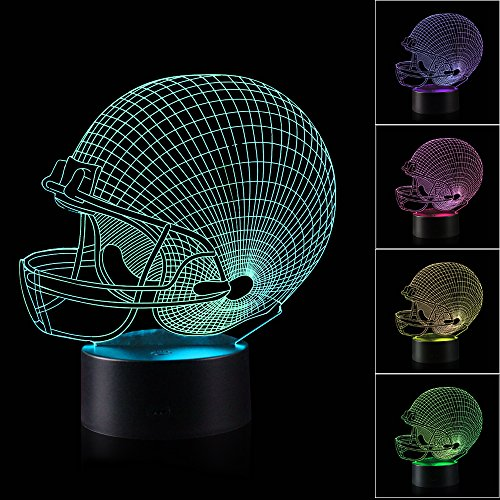 AZALCO 3D Illusion Hemlet Rugby Football Night Light Lamp with 7 Color change, touch base, power by AA - Rugby Base