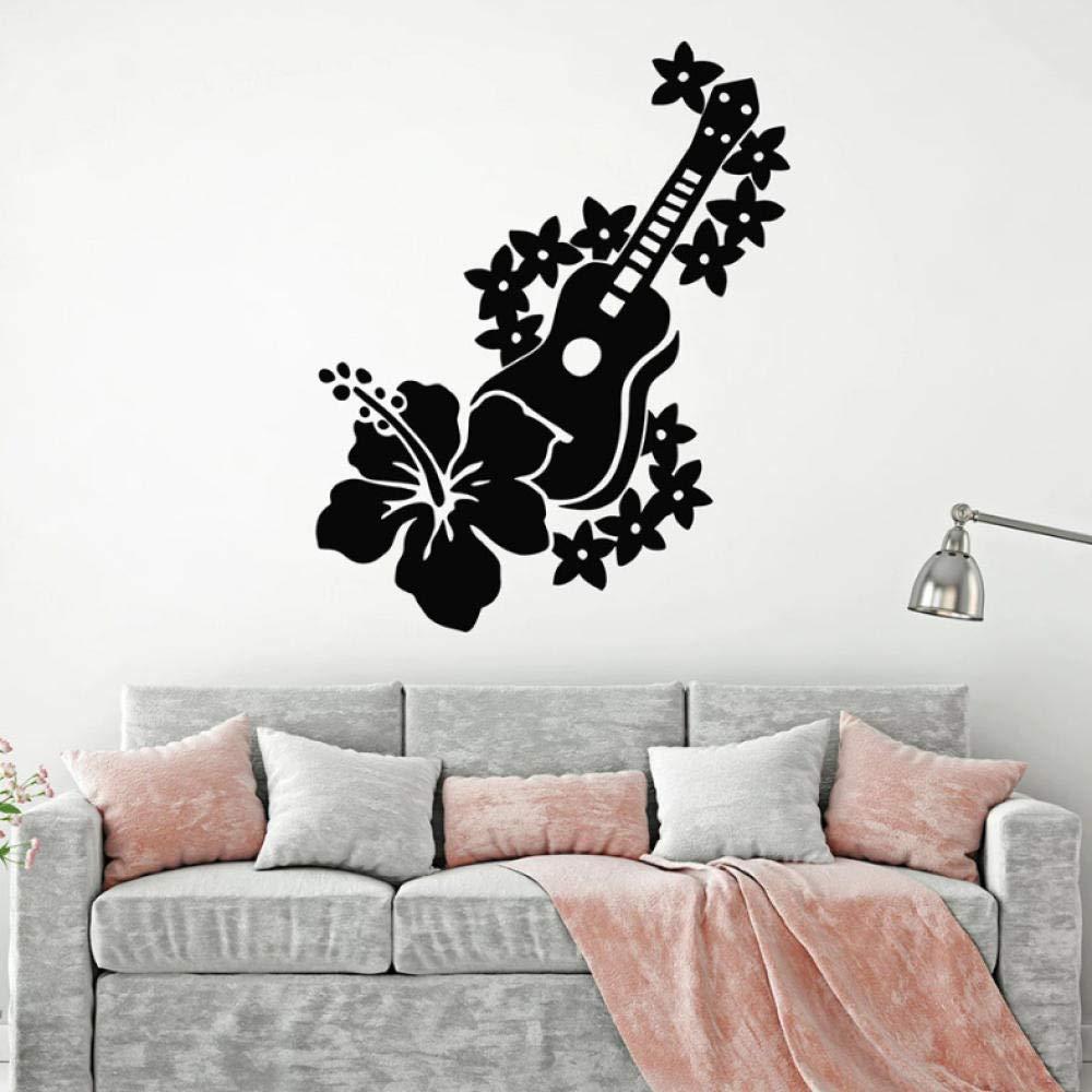 Guitarra Tatuajes de pared Músico Flores Canción romántica Vinilo ...