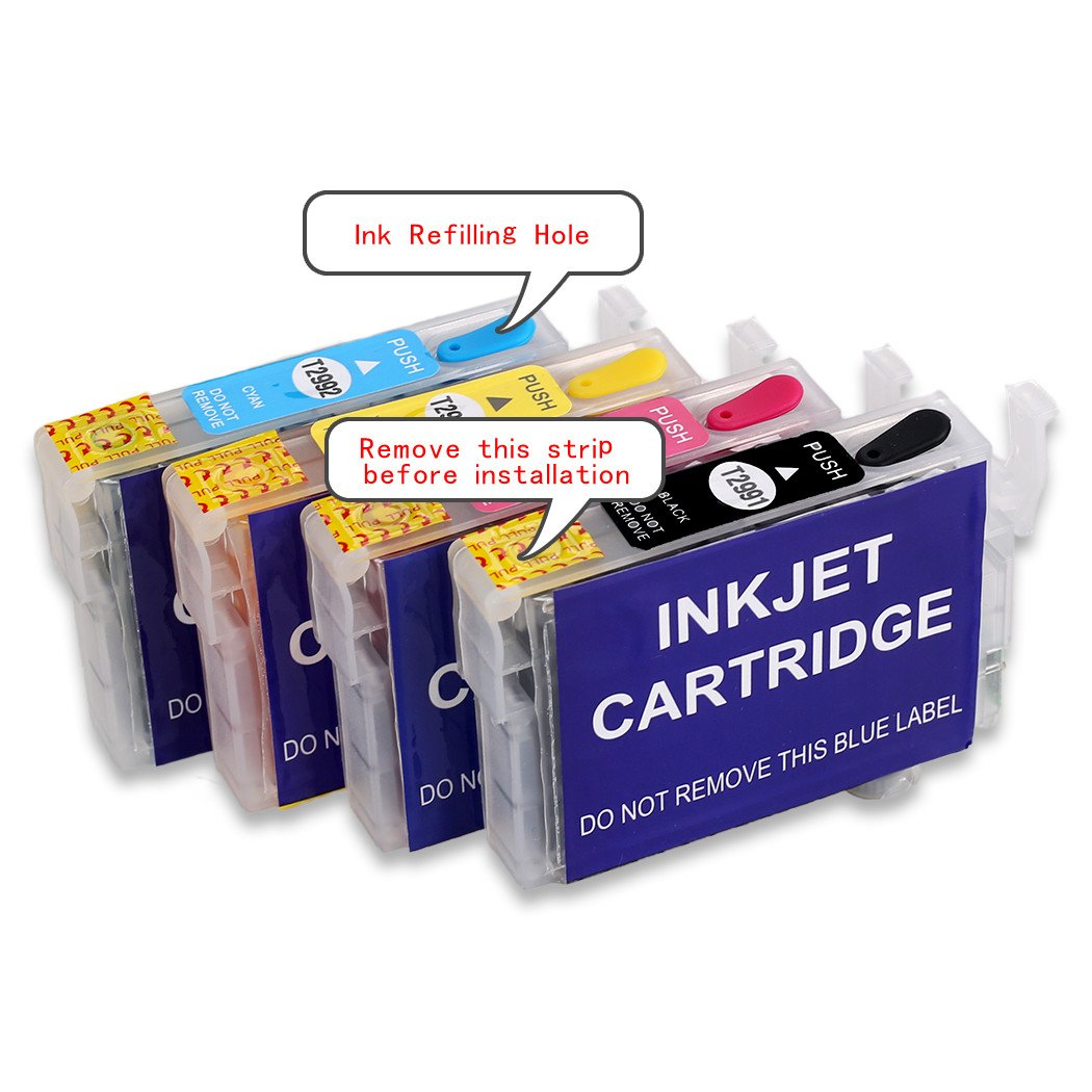 Hemei - Cartuchos de tinta recargables para impresoras Epson WF-3620DWF WF-3640DTWF WF-7110DTW WF-7610DWF WF-7620DTWF, 4 unidades, 27XL, vacíos