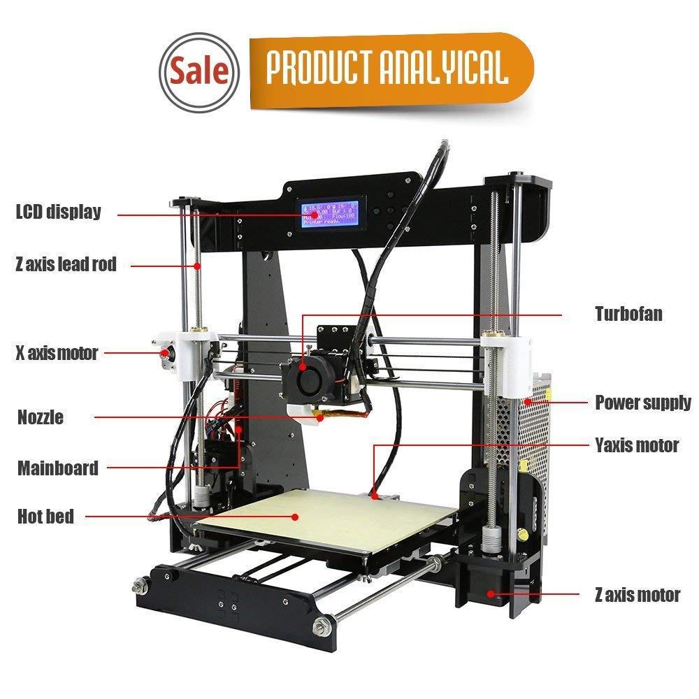 3D Impresora 1.75 Mm Filamento De Escritorio con Todo El Metal MK8 ...