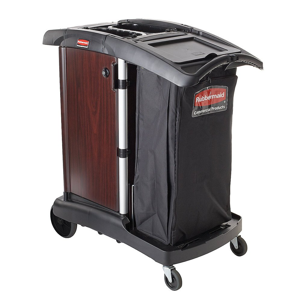 Rubbermaid FG9T9400BLA Executive Deluxe Wood Panel Compact Housekeeping Cart