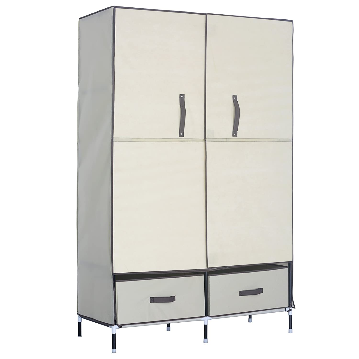 775b3b67d619 Amazon.com  WOLTU Portable Clothes Closet Wardrobe Storage with 2 Drawer  Cloth Organizer with Magnet Doors Steel Shoe Rack 6 Shelves Beige  Home    Kitchen