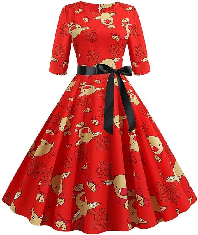 Damen V-Ausschnitt Kleid Petticoat 50er Vintage Freizeit Party Skaterkleid
