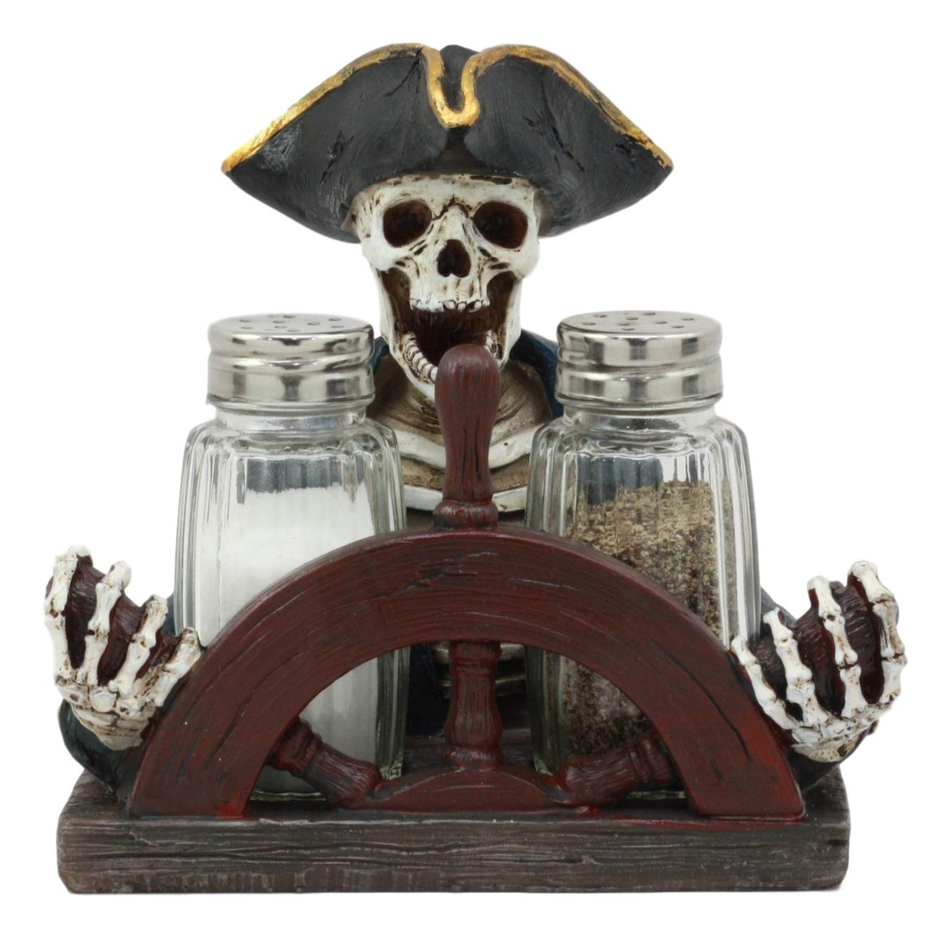Pirate Captain Skeleton Steering Wheel Salt And Pepper Shaker Holder Statue Set