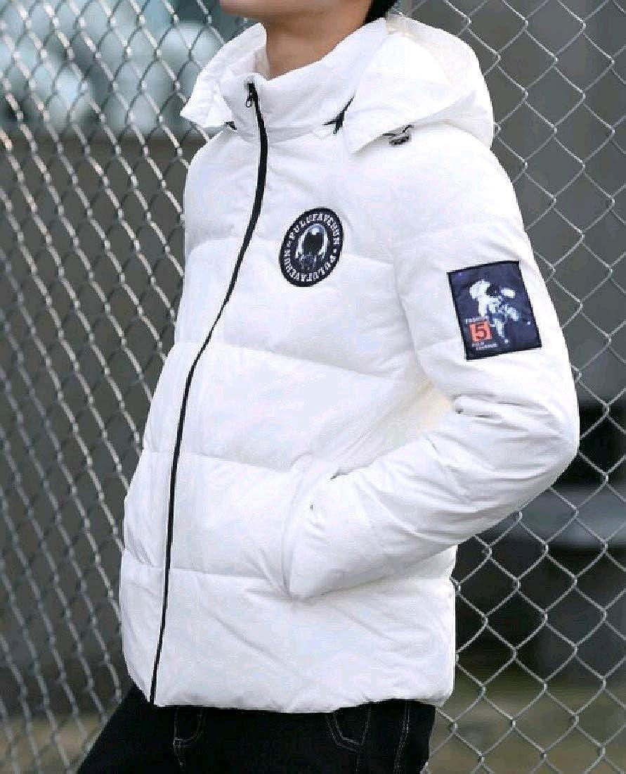 VITryst-Men Leisure Casual Cozy Hooded Oversize Zipper Down Coat White 2XL