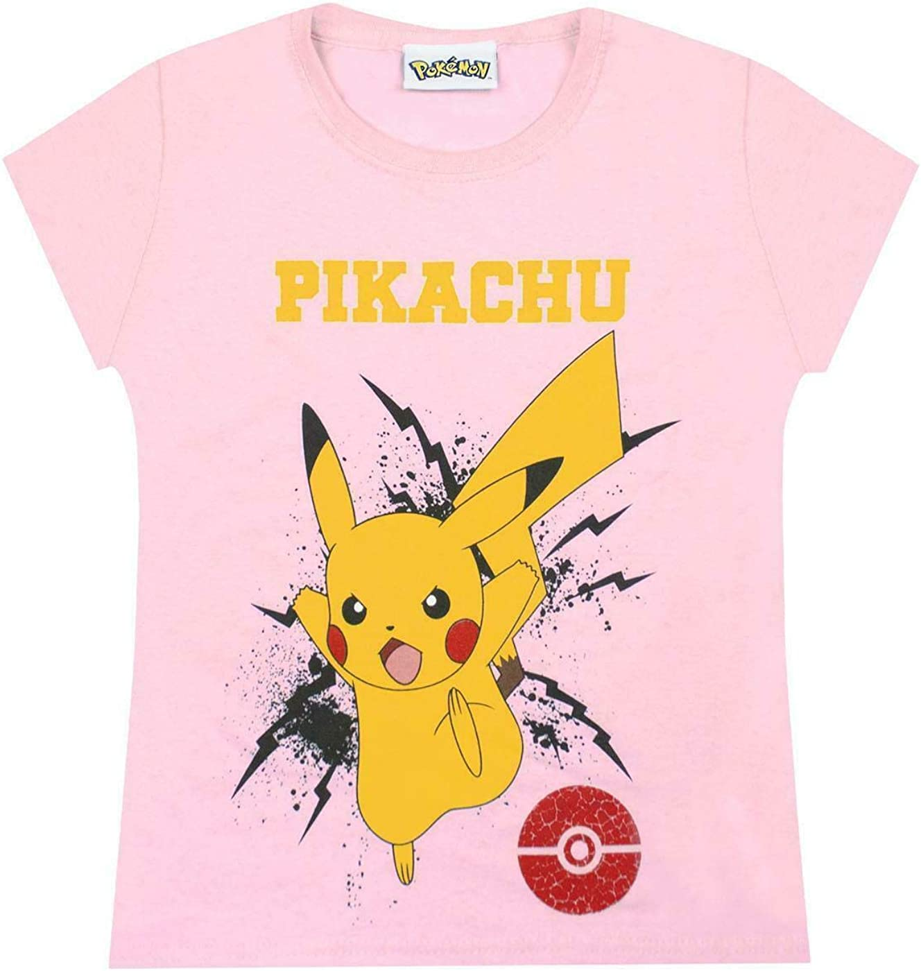 Pokemon Childrens/Girls Official Pikachu Bolt T-Shirt