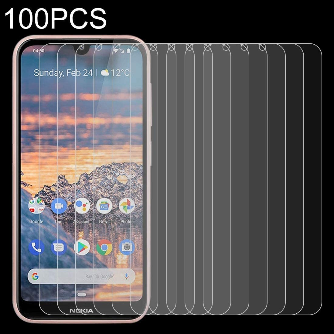 GUOHUN Screen Protector Protective 100 PCS 0.26mm 9H 2.5D Tempered Glass Film for Nokia 4.2 Glass Film