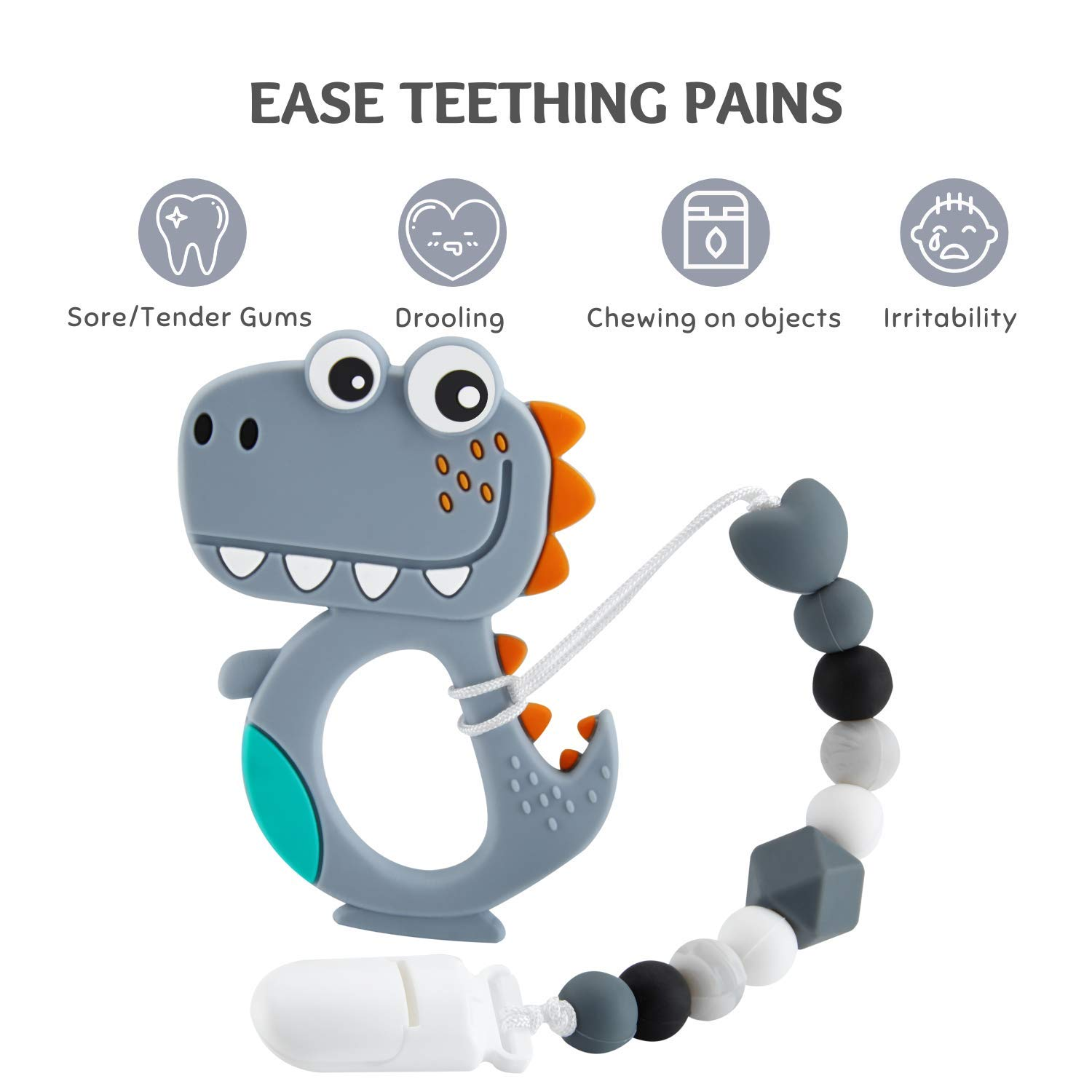 Neutral Shower Gift for Boys and Girls Baby Teething Toys Cartoon Dinosaur Teether Pain Relief Toy with Pacifier Clip Holder Set for Newborn Babies 03.Gray
