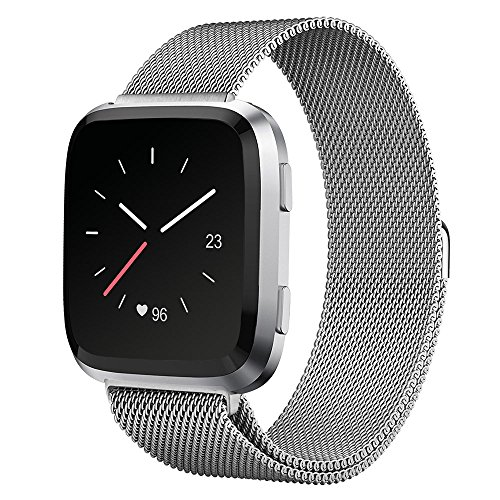 UMTELE For Fitbit Versa Band, Milanese Loop Stainless Steel Wristband Metal Mesh Strap with Unique Magnet Closure for Fitbit Versa, Large, Silver