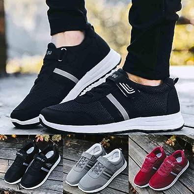 QinMM Zapatillas de Deporte Mallas cómodas y Transpirables para Hombres Zapatillas Running sin Cordones Zapatillas Deporte Correr Hombre Mocasines Zapatos Planos: Amazon.es: Zapatos y complementos