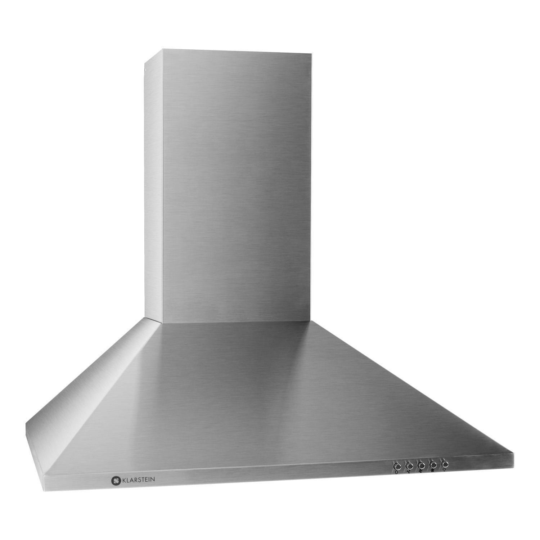 klarstein cappa da cucina aspirante tr60ws in acciaio per montaggio a parete 60 cm aspirazione massima 310mh lampada per illuminazione inclusa