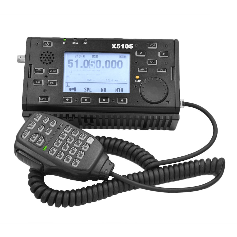 Xiegu X5105 OUTDOOR VERSION 0.5-30MHz 50-54MHz 5W 3800mAh HF TRANSCEIVER with USB Cable,IF Output, All Bands Covering SSB CW AM FM RTTY PSK Black by Xiegu