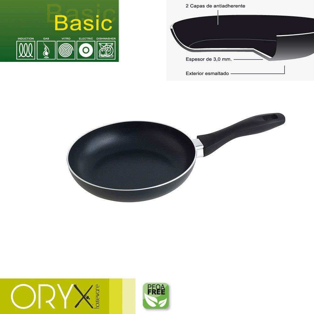 ORYX Sartén Aluminio Antiadherente Basic 20 cm. / 3 mm, Negro