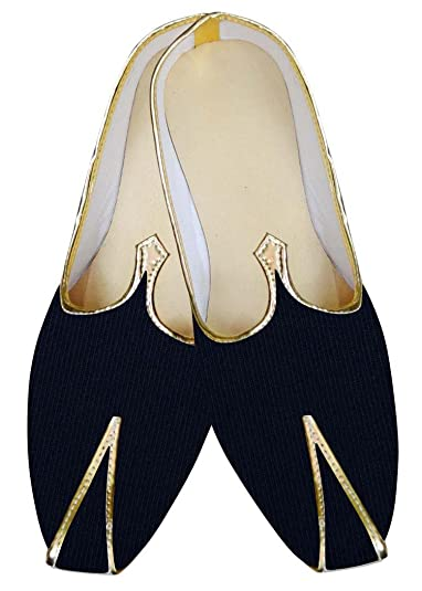 Mens Navy Blue Velvet Shoes For Wedding MJ0939