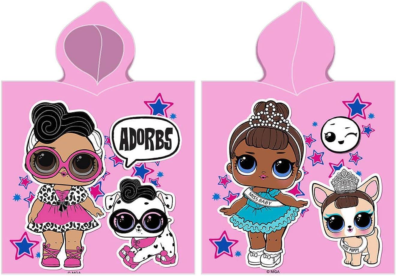 Carbotex LOL Surprise Poncho de baño para niña, 50 x 115 cm, algodón, L.O.L. Muñecas infantiles, poncho de playa, color rosa