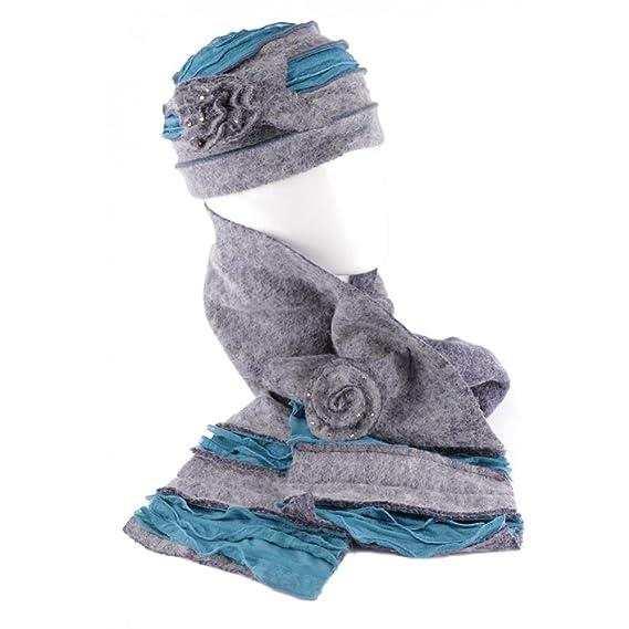 Léon montane Bonnet Echarpe Gris Bleu en Laine Bouillie Mona - Homme   Amazon.fr  Vêtements et accessoires 301428752de