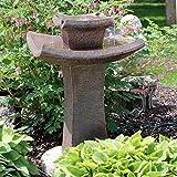 Sunnydaze Modern Zen Water Fountain, 2-Tier Outdoor Patio and Garden Birdbath Waterfall Feature, 30 Inch
