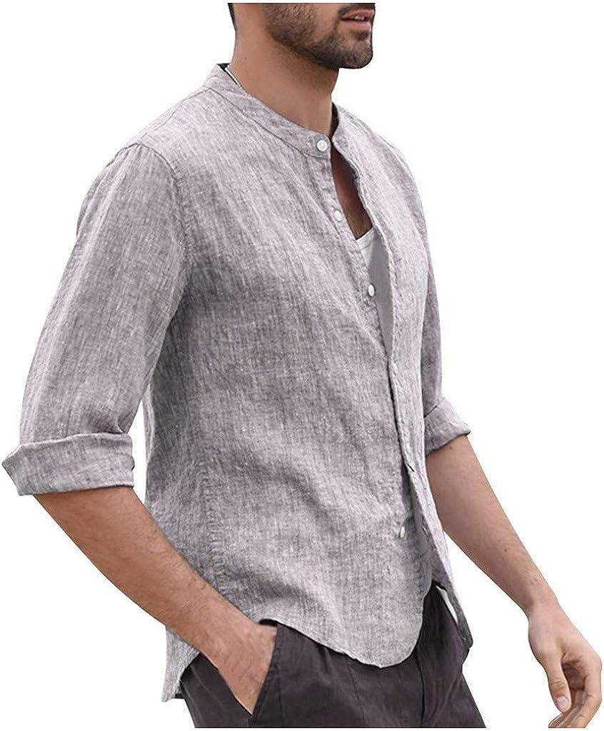 Herren Hemd mit Kapuze Leinenhemd Langarm Freizeithemd Casual Regular Fit Oberteile Herren Mittelalter Hemd Henley Sommerhemd Shirts Hippy Shirt