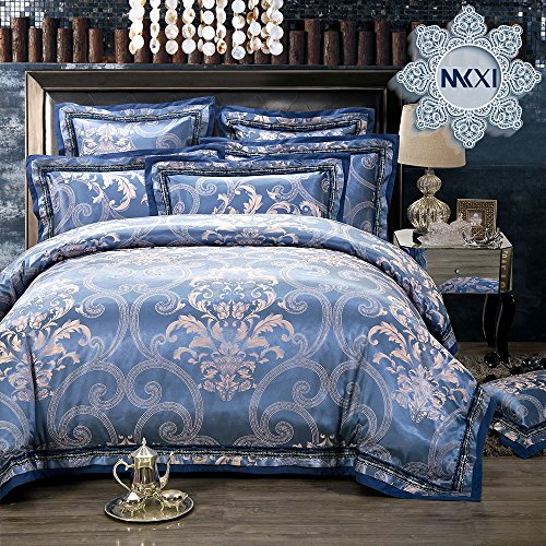 MKXI Paisley Sateen Jacquard Bedding for Adult Baroque Bordered Duvet Cover Set Queen Size, 3 Pieces