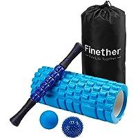 Finether-Rodillo de Espuma para Masaje Muscular kit de Masajeador Bola de Masaje Rodillo de Palo para Masaje, Azul