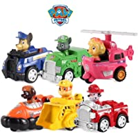 HALO NATION Chase, Rubble, Skye, Marshall, Rocky, Zuma Paw Patrol Rescue Pups Pull Back Vehicles -Set of 6