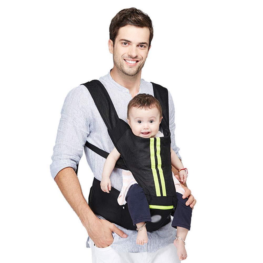 CPDZ Reise-Babytrage Aus Baumwolle Abnehmbare Tragetrage Komfortable Und Ergonomische Tragetuch Für Kinder Und Neugeborene Multipositions-Tragetuch Grüne Streifen