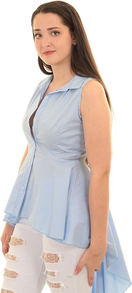 ZAFIRO Boutique Mujer Camisa Liso Sin Mangas Corto Largo Cola de pez de campana BLUSA TOP - Azul, S/M (UK 8-10): Amazon.es: Ropa y accesorios
