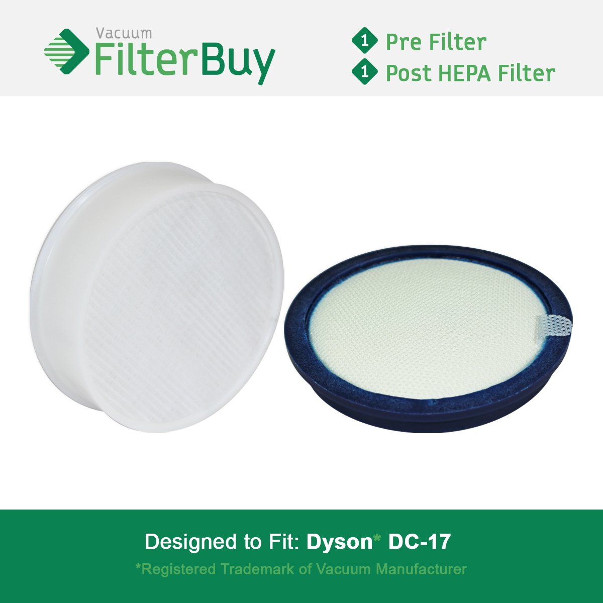 FilterBuy Dyson DC17 (DC-17) Compatible Filter Kit, Part #'s 911236-01 & 911235-01. Designed by FilterBuy to fit Dyson DC17 Upright Vacuum Cleaners.