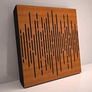 (4 Pack) Sound Absorption-Diffuse Acoustic Panel «Wave» for rec.studio | Wood laminated: (Cherry)