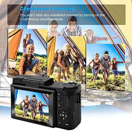 Digital Camera Vlogging Camera with YouTube 24MP 2.7k Full HD Camera with Flip Screen 180 Degree Rotation