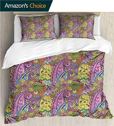 King Duvet Cover Set,Box Stitched,Soft,Breathable,Hypoallergenic,Fade Resistant Bedding Set Cover With 2 Pillow Shams Decorative Quilt Cover Set -Paisley Nature Elements Tree Leaf (80