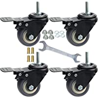 2 Inch Swivel Caster Wheels Set of 4, Locking casters Heavy Duty Total Capacity 330lbs, Metric M8-1.25 Threaded stem TPR casters with Brake, castors for Carpet Hardwood Floor Workbench Bed Frame.