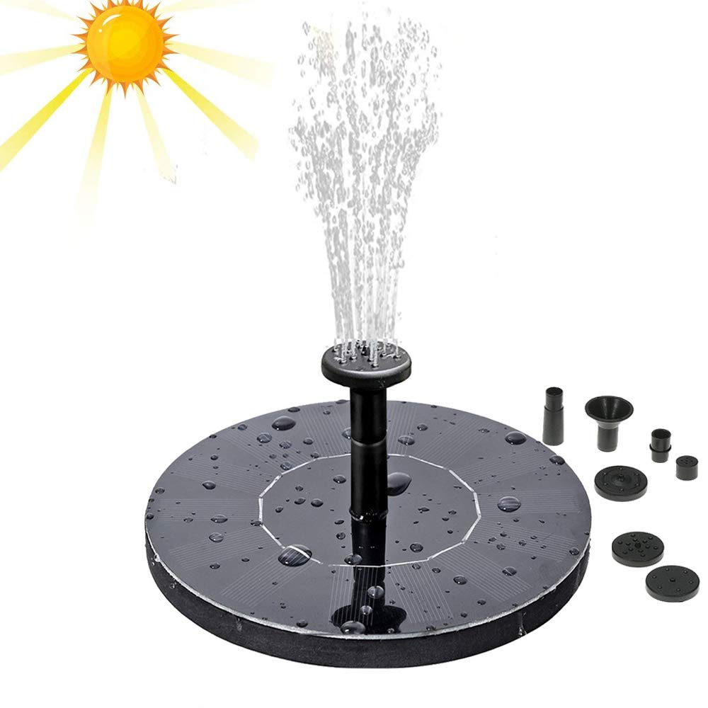 iPstyle Solar Water Pump Outdoor Solar Powered Bird Bath Fountain Pump Solar Submersible Floating Water Pump 1.4W Solar Panel with Different Spay Heads for Pond, Pool and Garden Decoration
