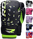 youth boxing - RDX Maya Hide Leather 4oz 6oz Kids Boxing Gloves Junior Punch Bag Children MMA Training Youth Muay Thai Mitts, 6oz, Green