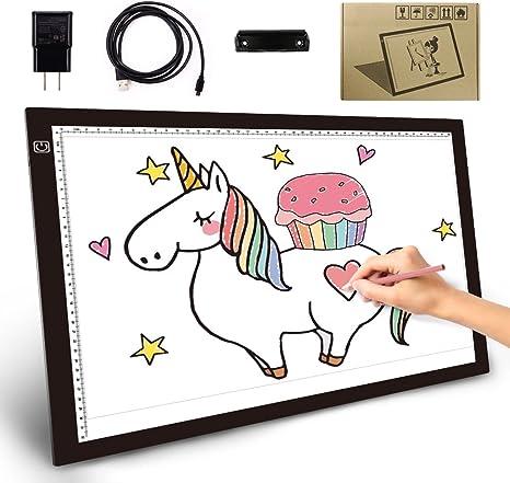 Tracer - Caja de luz LED A3 (0,45 cm, 3 niveles de brillo, protección para los ojos, para regalos digitales, dibujos, animaciones, tatuajes con clip de papel): Amazon.es: Juguetes y juegos