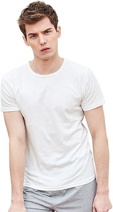 waotier Camiseta básica Hombre Verano Casual Sólido Jersey de ...