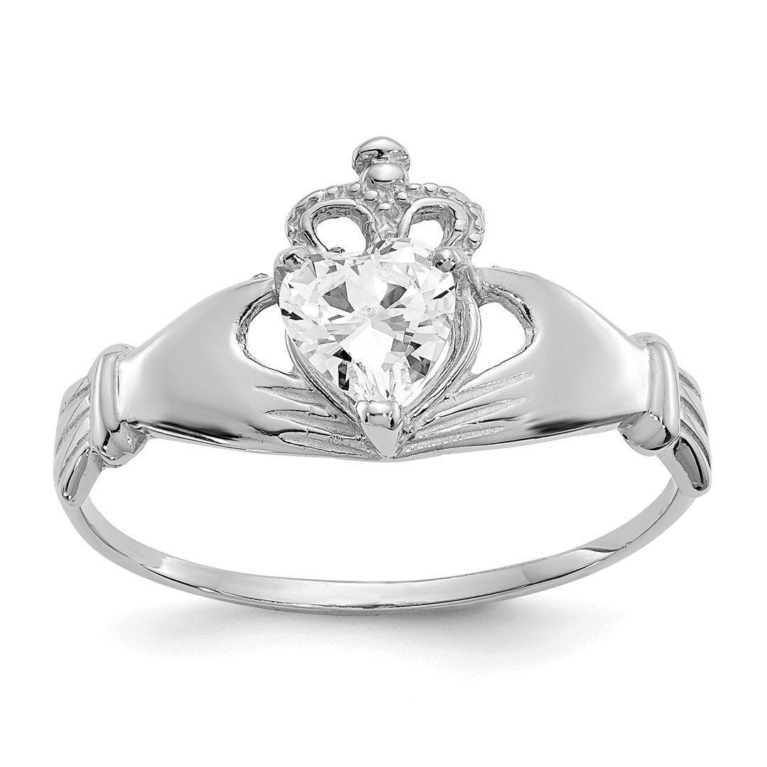 ICE CARATS 14k White Gold Cubic Zirconia Cz April Birthstone Irish Claddagh Celtic Knot Heart Band Ring Size 7.00 Style Fine Jewelry Gift Set For Women Heart