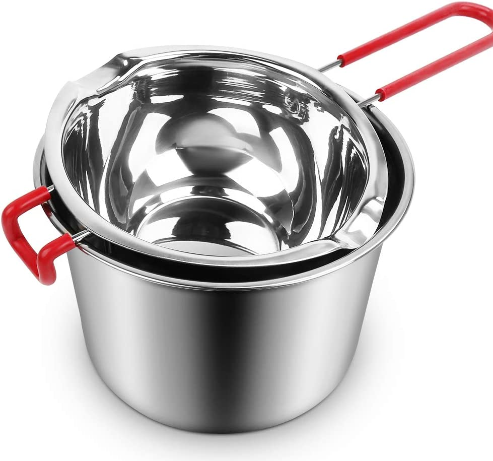 Stainless Steel Double Boiler Pot,3 Cup Capacity Metal Melting Pot with Heat Resistant Handle,600ml Steel Universal Insert Melting Pan for Chocolate,Butter,Candle,Candy and Soap