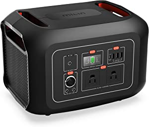 MILIN 622Wh Portable Power Station, Portable Backup Lithium Battery with 2 110V 600W AC Outlets and LED Flashlight, Solar Power Generator for Home Use Outdoor Camping RV Travel Emergency, and More