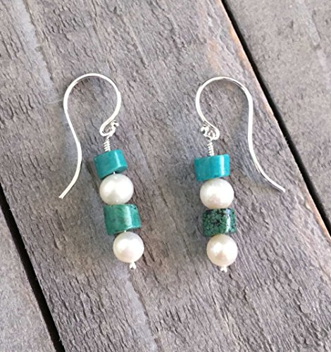Pearl Earrings White Cultured And Turquoise Gemstones on Sterling Silver - Pearl Green Turquoise Necklace
