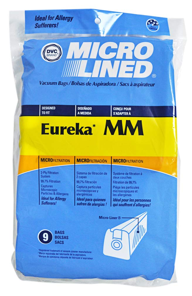 9 Eureka Style MM Micro-lined Canister Vacuum Bags by DVC