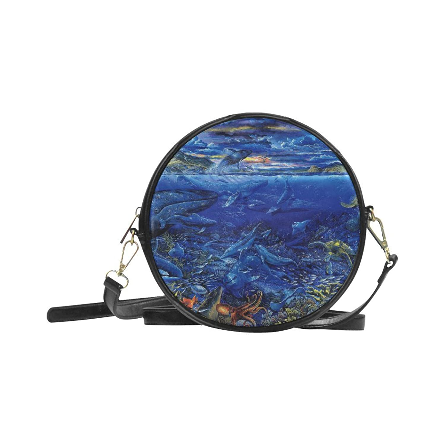 meincare Women's Sealife Underwater PU leather Round Messenger Bag Shoulder Bag