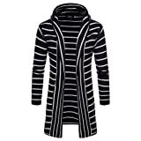 Toimothcn Hoodie Men's Hooded Solid Coat Stripe