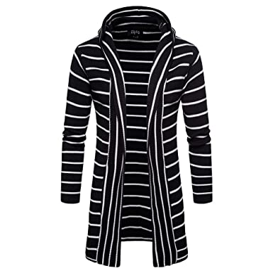 83022ed9a0f HOMEBABY Men Stripe Hooded Cardigan Knit Trench Coat Jacket Pullover Jumper  Autumn Winter Sweater Windbreaker Business Leisure Long Sleeve Warm Coat ...