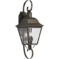 Progress Lighting P5689-20 3-Light Andover Large Wall Lantern with Solid Brass Construction, Antique Bronze