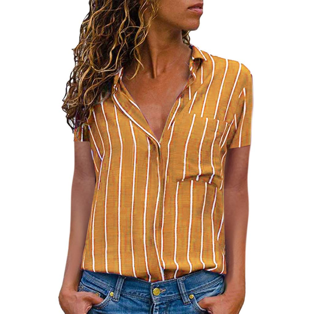 KYLEON Women's T-Shirts Striped Print Short Sleeve Button Down Casual Summer Girls Tops Tee Blouse Tunics with Pocket Yellow